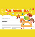 a mathematic certificate template vector image