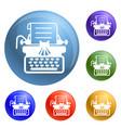 antique typewriter icons set vector image