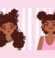 beautiful african american women face cartoon vector image vector image