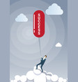 business man hold success on rope successful new vector image vector image