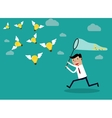Businessman running with butterfly light bulbs vector image