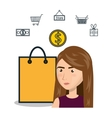 cartoon woman e-commerce bag gift isolated design vector image vector image