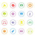 Colorful simple flat icon set 6 with circle frame vector image vector image
