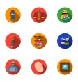 Crime set icons in flat style Big collection of vector image vector image