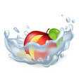 cut apple in water splash isolated vector image vector image