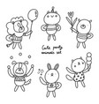 cute party animals outlined collection vector image