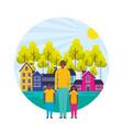 dad and kids suburban neighborhood landscape vector image