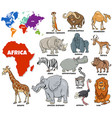 educational african animals set vector image