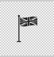Flag of great britain on flagpole icon isolated