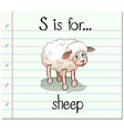 Flashcard letter S is for sheep vector image