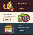 gambling horizontal banners test your luck in vector image