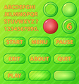 game ui elements - green buttons and font for game vector image vector image