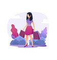 girl with bags walks in park vector image vector image