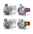 globes with map marker and state flags great vector image vector image