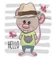 greeting card cartoon rat boy with hat vector image vector image