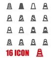 grey traffic cone icon set vector image