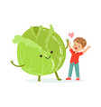 happy boy having fun with fresh smiling cabbage vector image vector image