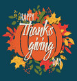 happy thanksgiving day card with floral vector image vector image