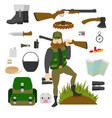 hunter with set of amunition isolated gun knife vector image