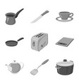 isolated object of kitchen and cook sign set of vector image vector image