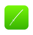 japanese katana icon digital green vector image