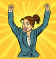 joyful woman winning hand gesture up vector image