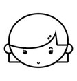 line child girl face with hairstyle design vector image vector image