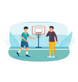 male basketball player and referee with whistle on vector image