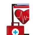 medical kit with medicine icons vector image vector image