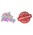 migration composition of mosaic map of berlin city vector image