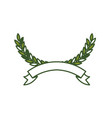olive arch in green color and ribbon on bottom vector image vector image