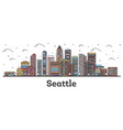 outline seattle washington city skyline vector image