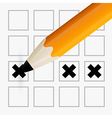 Pencil Check Option - Orange Pencil Filling the vector image vector image