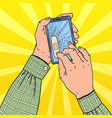 pop art male hands holding broken smartphone vector image