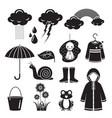 rainy season icons set monochrome vector image vector image