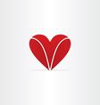 red letter v heart valentine symbol vector image vector image