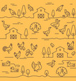 seamless pattern farm animals buildings vector image