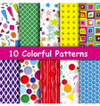 set 10 colorful geometric seamless patterns vector image vector image