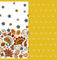 set of two horizontal seamless floral pattern with vector image vector image