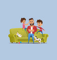 stressed annoyed father naughty children on sofa vector image vector image