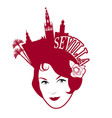 symbolic image seville woman wearing comb vector image
