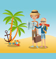 traveling tourist camera glasses anchor palm sand vector image vector image