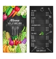 Vegetarian restaurant menu chalkboard with veggies vector image vector image