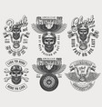 vintage biker and motorcyclist logos set vector image vector image