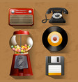 vintage items on brown background vector image vector image