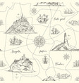 vintage seamless pattern on theme travel vector image vector image
