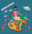 water sports isometric people composition vector image vector image