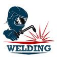 welder with tool symbol vector image vector image