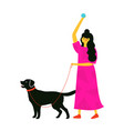 with young woman in pink dress playing happy vector image