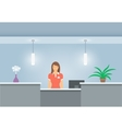 Woman receptionist stands at reception desk front vector image